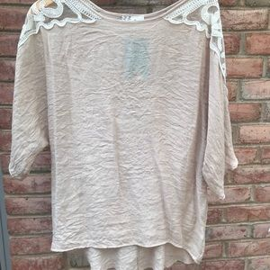 Lace sleeve detailed top blouse Made in the USA